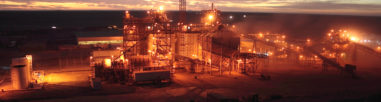 Mine site at dusk
